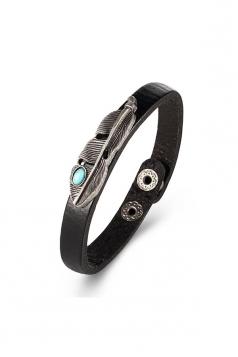 Black Vintage Punk Turquoise Feather Design Cuff Bracelets