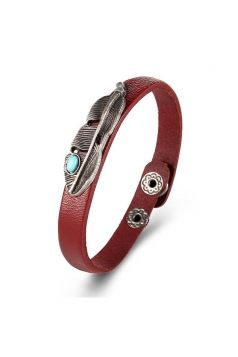 Brown Vintage Punk Turquoise Feather Design Cuff Bracelets