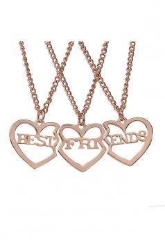 Rose Gold Trendy Letter Hollow Out Heart Pendant Best Friend Necklaces