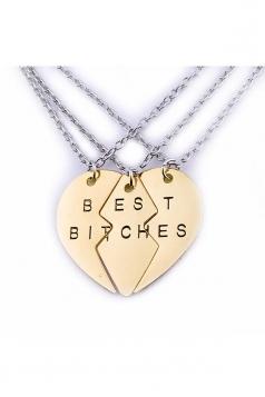 Gold Letters Heart Pendant 3 Piece Best Friends Necklace Set