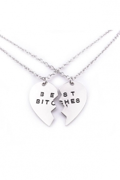 Silvery Letters Heart Pendant 2 Piece Best Friends Necklace Set