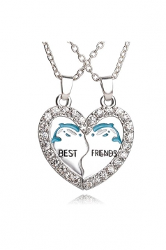 Silvery Delphinus Heart Pendant 2 Piece Diamond Best Friends Necklace