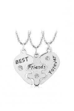 Silvery Trendy Letters Heart Pendant 3 Piece Best Friends Necklace Set