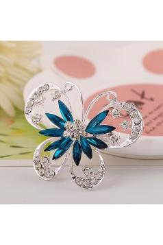 Blue Wedding Party Gift Elegant Diamond Gem Butterfly Design Brooch