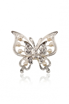 White Wedding Party Gift Elegant Imitation Pearl Butterfly Brooch