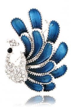Blue Romantic Elegant Retro Alloy Crystal Peacock Brooch