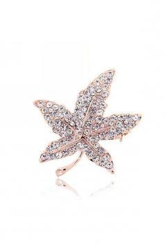 White Elegant Party Gift Diamond Crystal Maple Leaf Brooch