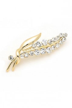 Gold Elegant Luxurious Diamond Design Flower Brooch