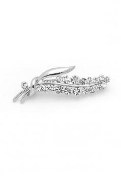 Silvery Elegant Luxurious Diamond Design Flower Brooch