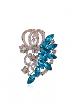 Blue Party Gift Elegant Retro Gemstone Design Flower Brooch