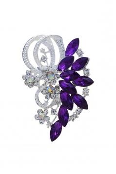 Purple Party Gift Elegant Retro Gemstone Design Flower Brooch
