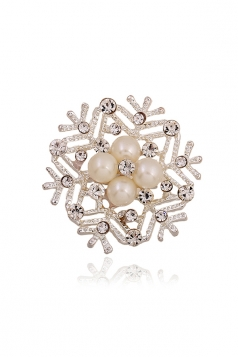 White Party Gift Retro Alloy Crystal Bead Frozen Snowflake Brooch