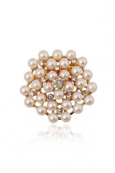 Gold Wedding Evening Gift Fashion Luxurious Flower Pearl Brooch
