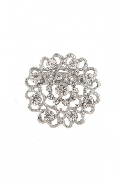 Silvery Elegant Wedding Evening Gift Retro Heart Diamond Design Brooch
