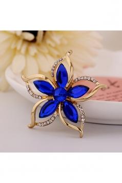 Blue Vintage Retro Diamond Bauhinia Flower Brooch