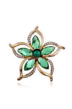 Green Vintage Retro Diamond Bauhinia Flower Brooch