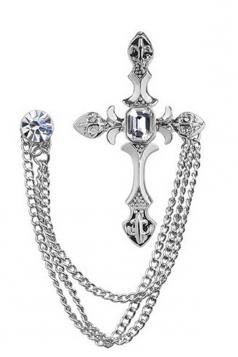 Silvery Fashion Vintage Diamond Design With Chain Men'S Cross Brooch