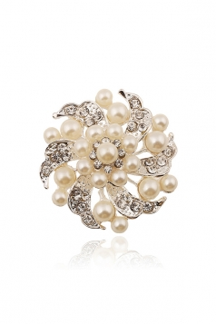 White Elegant Party Evening Prom Gift Diamond Imitation Pearl Brooch