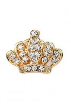 Gold Elegant Unisex Suit Retro Diamond Design Imperial Crown Brooch