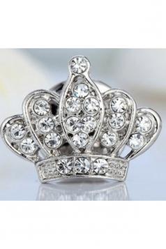 Silvery Elegant Unisex Suit Retro Diamond Design Imperial Crown Brooch