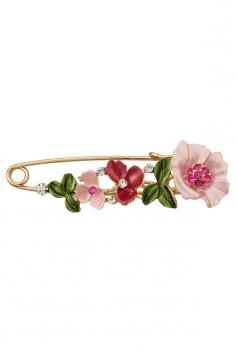 Rose Red Elegant Retro Diamond Design Colorful Flower Leaf Brooch