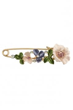 Purple Elegant Retro Diamond Design Colorful Flower Leaf Brooch