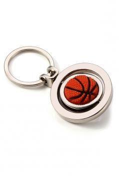 Orange Two Hoops Souvenir Collection Rotating Basketball Keyring