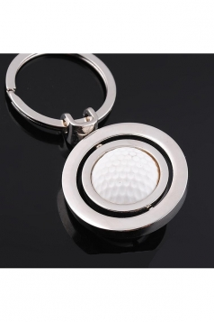 White Two Hoops Souvenir Collection Rotating Golf Keyring