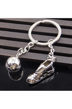 Silvery Souvenir Gift Football Player Pendant World Cup Keyring