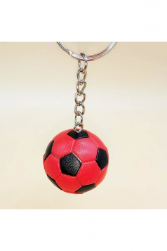 Red Souvenir Collection Plastic Football Pendant Keychain