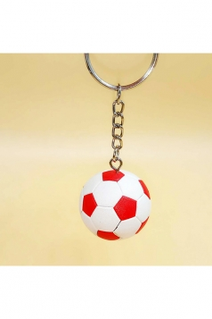 White Souvenir Collection Plastic Football Pendant Keychain