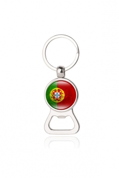 Silvery Portuguese Flag Beer Bottle Opener World Cup Football Keyring