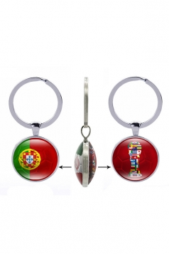 Red Gift Double Side Portuguese Flag World Cup Trophy Football Keyring