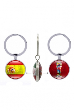 Yellow Gift Double Side Spain Flag World Cup Trophy Football Keyring