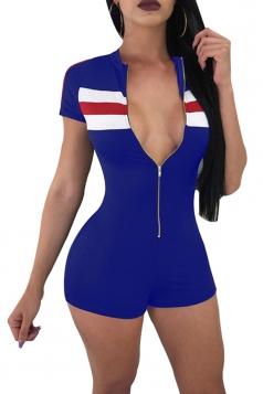 Short Sleeve Long Zipper Front Close-Fitting Color Block Romper Blue
