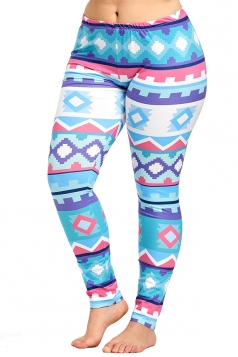 Plus Size Geometric Print Yoga Sports Leggings Blue