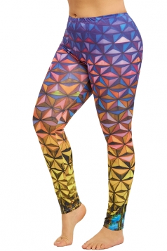 Plus Size Geometric Print Yoga Sports Leggings Dark Purple