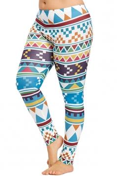 Plus Size Geometric Print Yoga Sports Leggings Dark Green