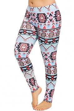 Plus Size Geometric Print Yoga Sports Leggings Light Purple