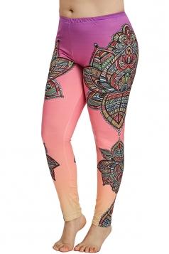 Plus Size Print Yoga Sports Leggings Rose Red