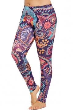 Plus Size Mandala Print Bohemian Yoga Sports Leggings Purple