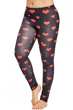 Plus Size Heart Print Yoga Sports Leggings Watermelon Red