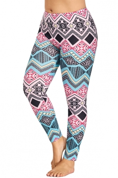 Plus Size Geometric Print Yoga Sports Leggings Turquoise