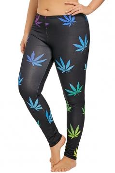 Plus Size Leaves Print Yoga Sports Leggings Navy Blue