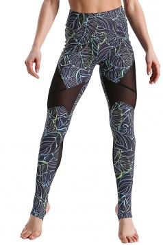 High Waist Mesh Patchwork Stirrup Print Sports Leggings Turquoise