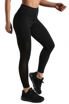 High Waisted Tights Stretched Mesh Patchwork Plain Sports Leggings Black