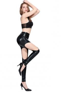 High Waisted Cut Out Pu Imitation Leather Metallic Leisure Pants Black