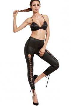 Skinny Eyelet Cross Lace Up Pu Imitation Leather Leisure Pants Black