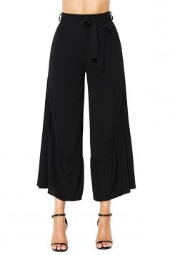 High Waisted Belt Ruffle Hem Wide Legs Leisure Capri Pants Black