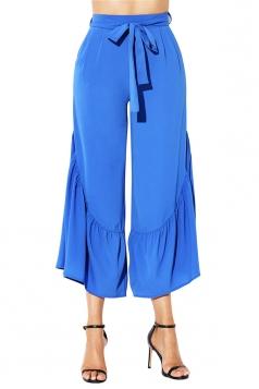 High Waisted Belt Ruffle Hem Wide Legs Leisure Capri Pants Sapphire